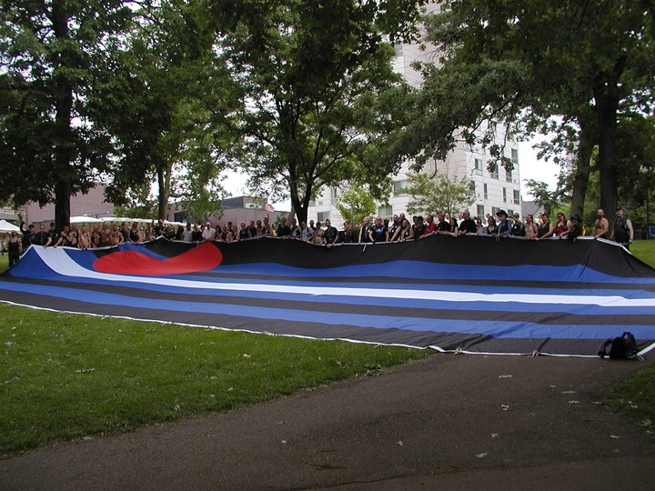 Group photo with flag